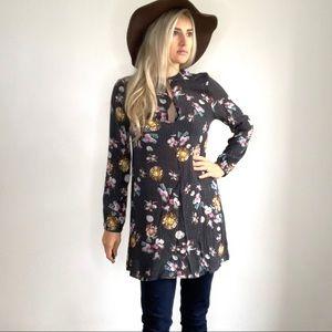 Le Lis Floral Double Keyhole Neck Tunic Dress